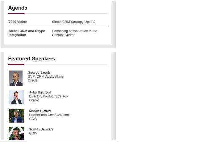 CCW  prezentácia na  Siebel Virtual CAB 2020